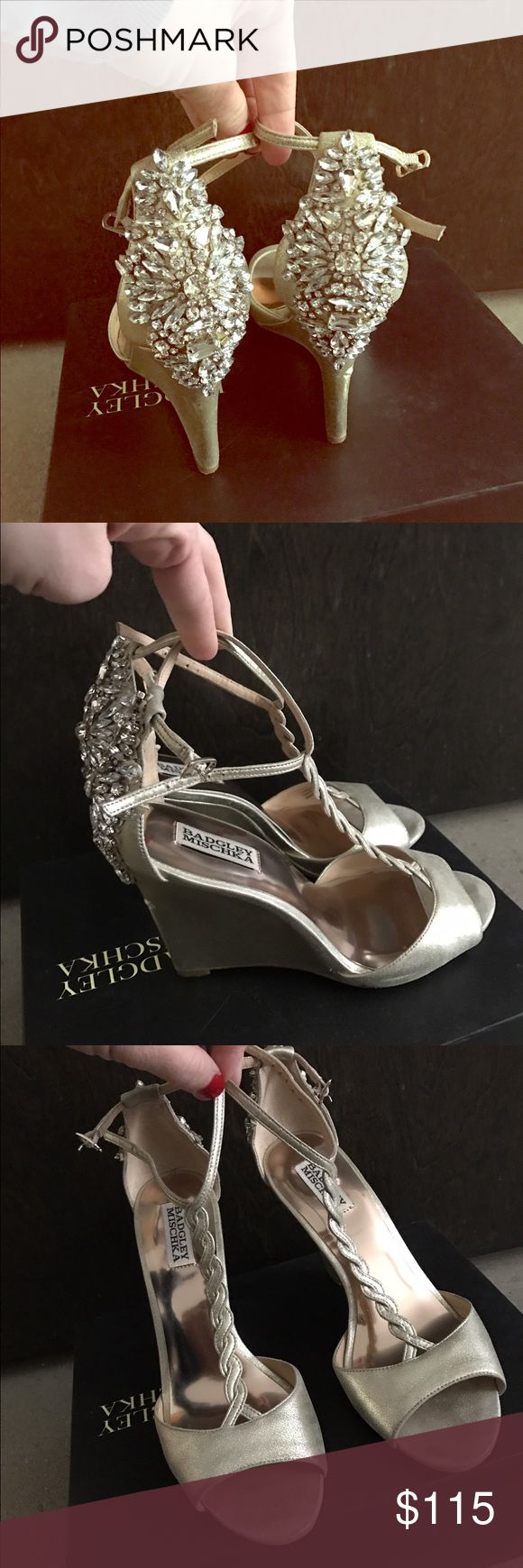 Badgley Mischka wedge wedding shoes Size 9 wedge wedding shoes worn once on one of the best days of my life! I brought a pair of flats on my wedding day in case my feet hurt at the reception. I forgot to change into them because my feet never hurt. These are beautiful and comfortable. Badgley Mischka Shoes Wedges