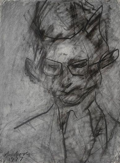 """Frank Auerbach """"Portrait Of Christopher Dark"""" 1977"""