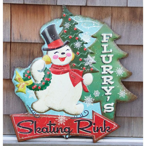 Flurry's Skating Rink Tin Sign (€35) ❤ liked on Polyvore featuring home, home decor, wall art, tin signs and tin wall art