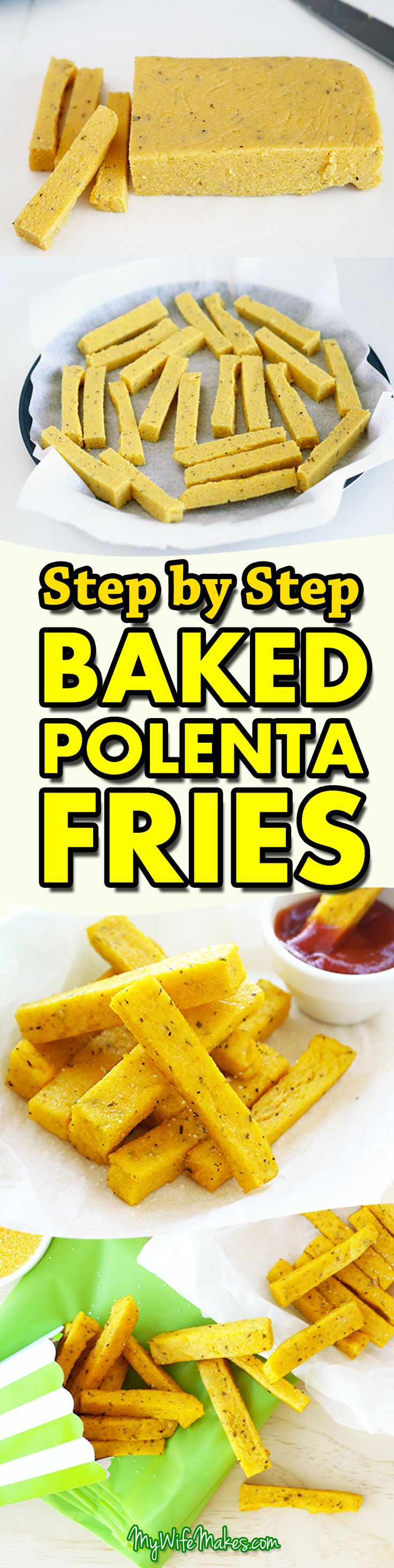 Easy Baked Polenta Fries / Chips Recipe - healthy, vegan, seasoned with dried mixed herbs, nutritional yeast, garlic & onion powder, and other yummy ingredients.