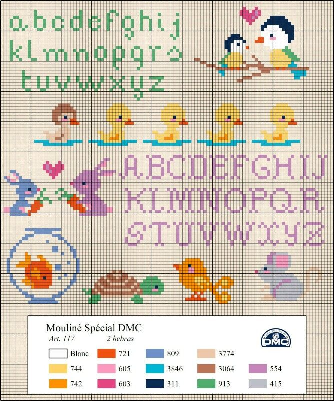 Dmc free pattern alphabet ducks ugly duckling cygnet birds bunnies goldfish turtle mouse moyif animals cute mini small cross stitch