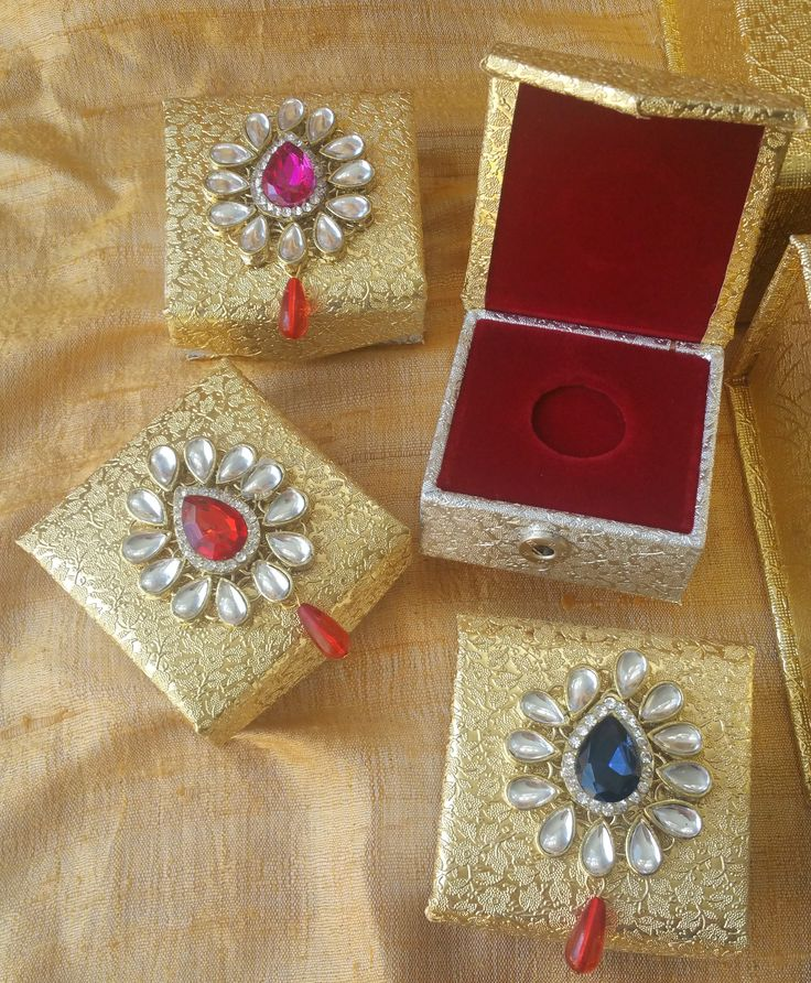 Gold and Silver Coin Box with big brooch, Wedding favors, Trousseau,Gifts