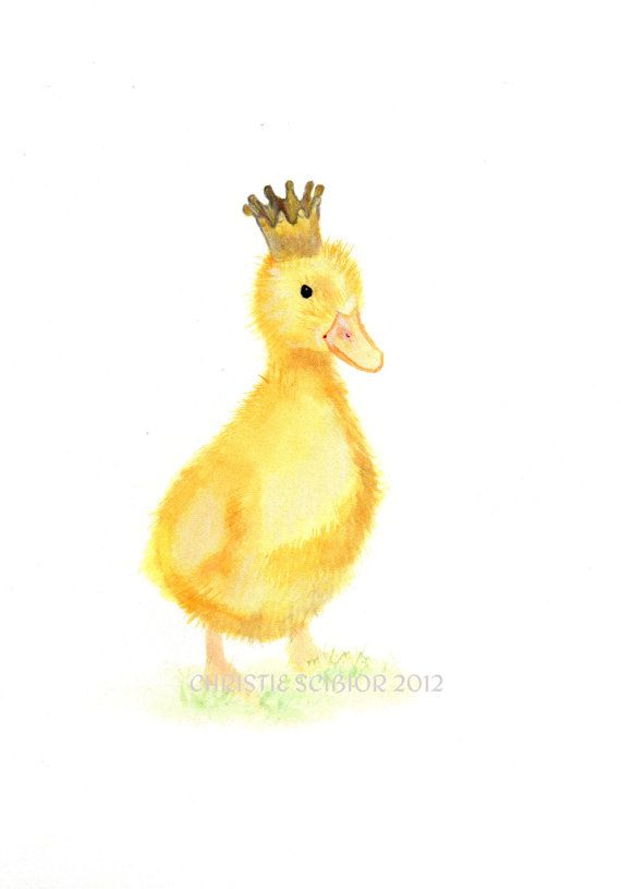 Original Watercolor Painting Baby Duck Chick With Crown