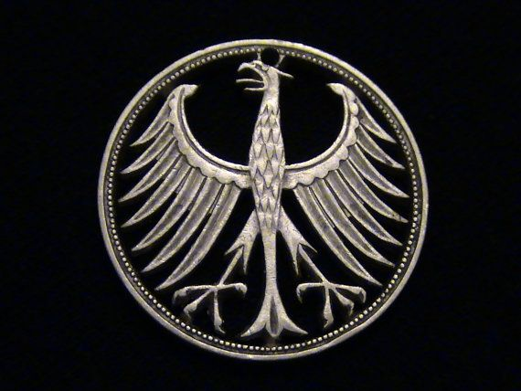 GERMANY - cut coin jewelry - 1951 - w/ Imperial Eagle - SILVER - Lazy Cat Cut Coins (US)