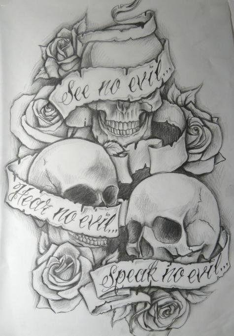 """See no evil, Hear no evil, speak no evil"" tattoo. Love this."