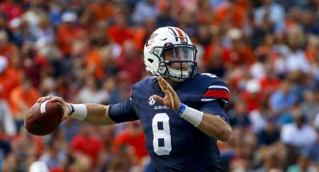 Auburn Quarterback Jarrett Stidham 8 Looks To Pass During The First Half Of An Football Helmets Auburn Football Auburn