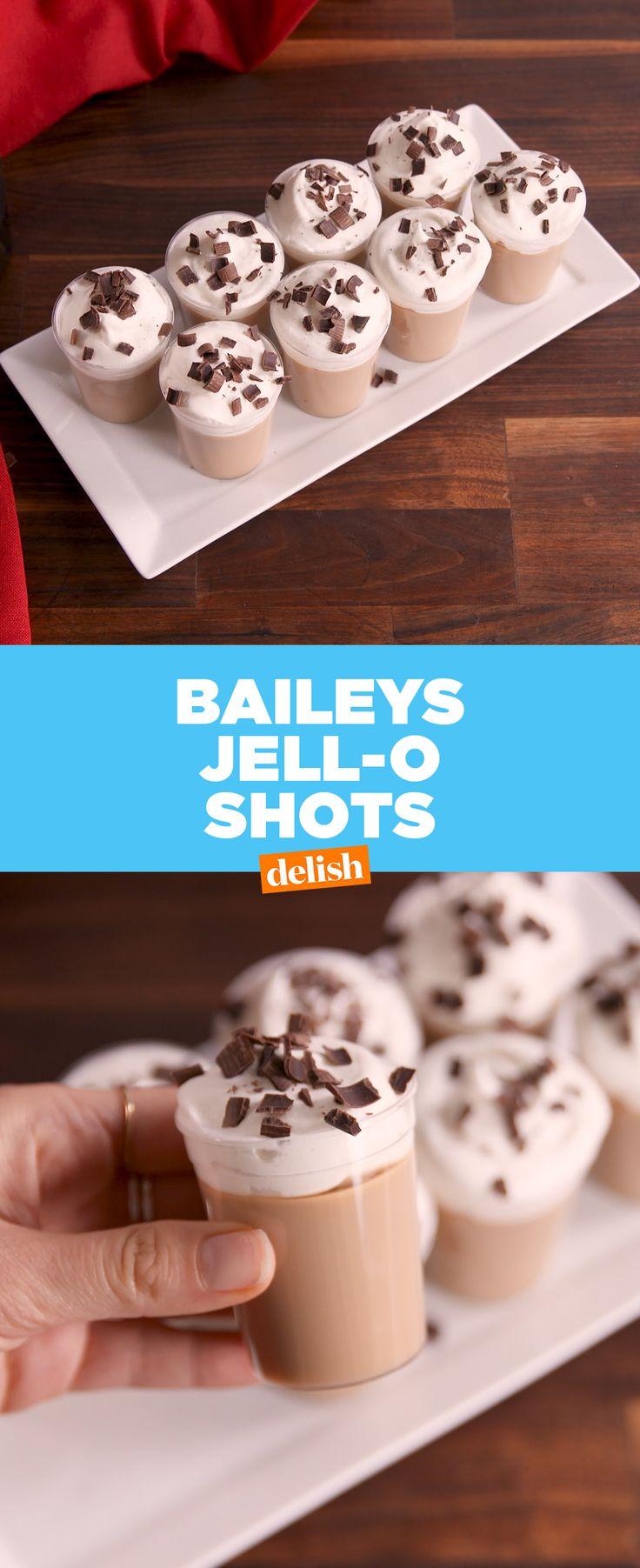 Bailey's Jell-o Shots will keep you warm all winter long. Get the recipe at Delish.com. #baileys #jello #shot #alcohol #recipe #delish #easyrecipe