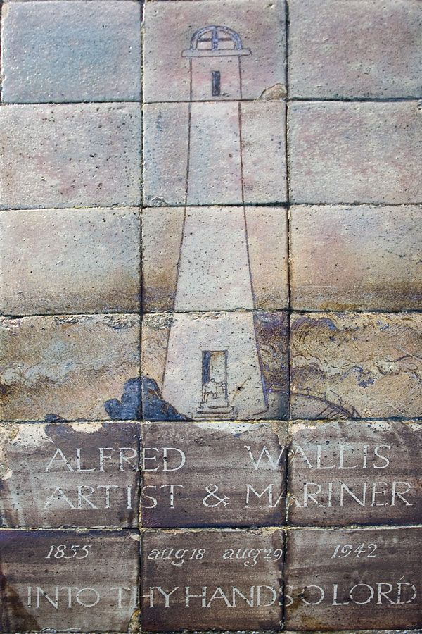 """ALFRED WALLIS: Detail of the tombstone of the St Ives artist. 'Celebrated for his """"primitive"""" style of painting, Wallis died in the poor house in Madron. It was the artistic fraternity in St Ives who clubbed together to make sure Wallis did not end up in a pauper's grave and they who made this elaborate tombstone. The tiles are by Bernard Leach and depict the tiny mariner at the foot of a lighthouse. The grave is in Barnoon Cemetery which overlooks the rugged Porthmeor beach.' ✫ღ⊰n"""