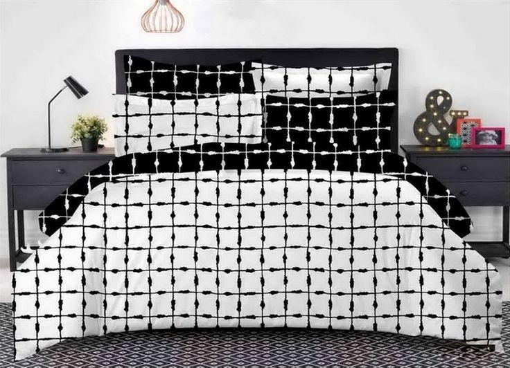 Kvalitné bielo čierne posteľné obliečky s kockami 200 x 220