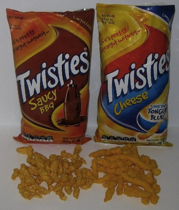Originally from Australia, Twisties are now wildly popular in New Zealand, Singapore, Fiji, Malaysia, Malta, and Mauritius, among other exotic locales