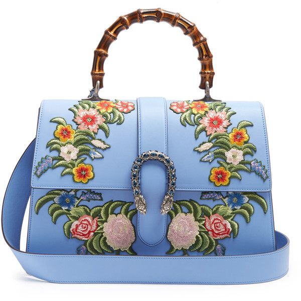 Gucci Dionysus large floral-embroidered leather tote (£4,060) ❤ liked on Polyvore featuring bags, handbags, tote bags, gucci, jackets, сумки, blue leather handbags, gucci tote, embroidered tote bags and leather tote handbags
