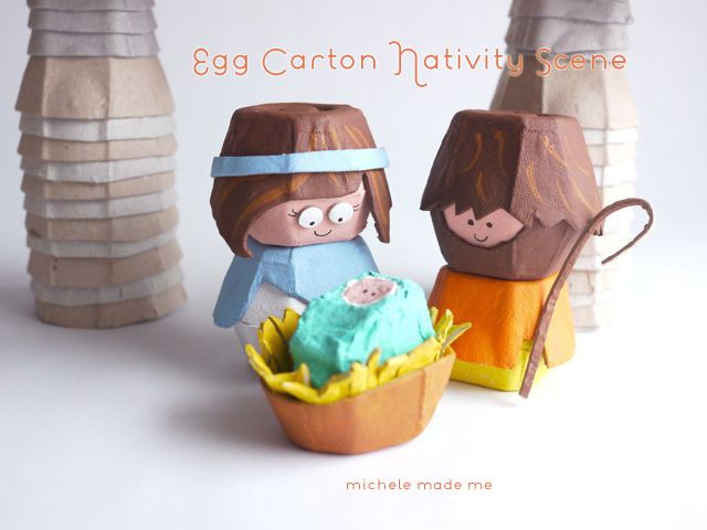 Inspiration - michele made me: Egg Carton Nativity Scene PDF Tutorial in The Shop! - A general layout of carton materials is provided free and with a little creativity...