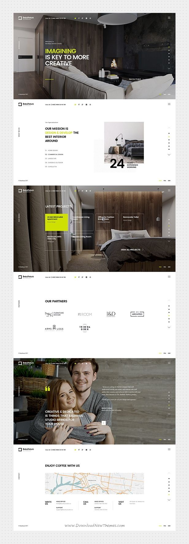 Bauhaus is a clean and modern design 3in1 responsive #HTML bootstrap template for stunning #architecture and #interiordesign companies website download now➩ https://themeforest.net/item/bauhaus-architecture-interior-template/19649490?ref=Datasata