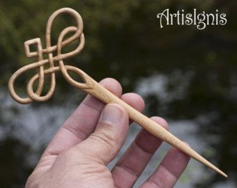 Hair Stick Dragonfly Knot by ArtisIgnis, Double-Sided, Handmade in Linden Wood Hair Pin, Handcarved, Gift for her, Birthday - MADE TO ORDER
