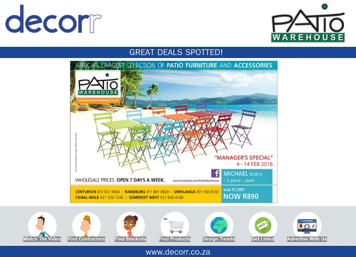 #DecorrOutdoor Great Deals Spotted at http://www.decorr.co.za/patio-warehouse/ … #decorrpromo