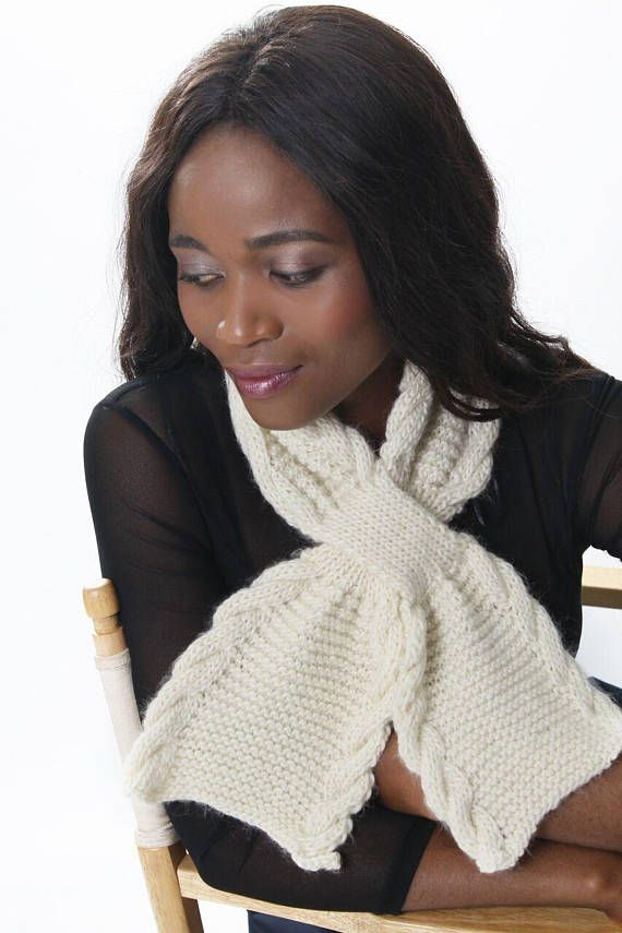 Cabled Keyhole Scarf Knitting Pattern  Instant PDF Download