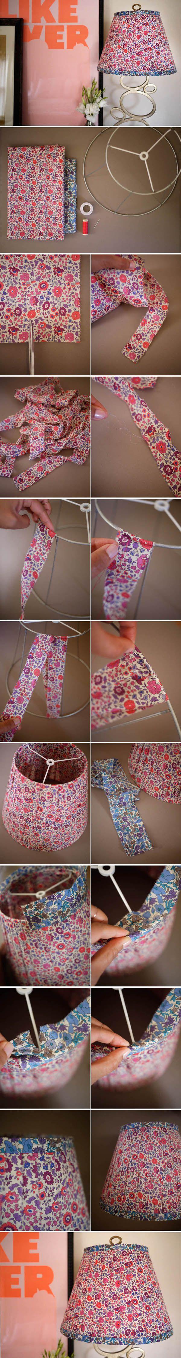 Lámpara DIY con tela estampada / http://honestlywtf.com/