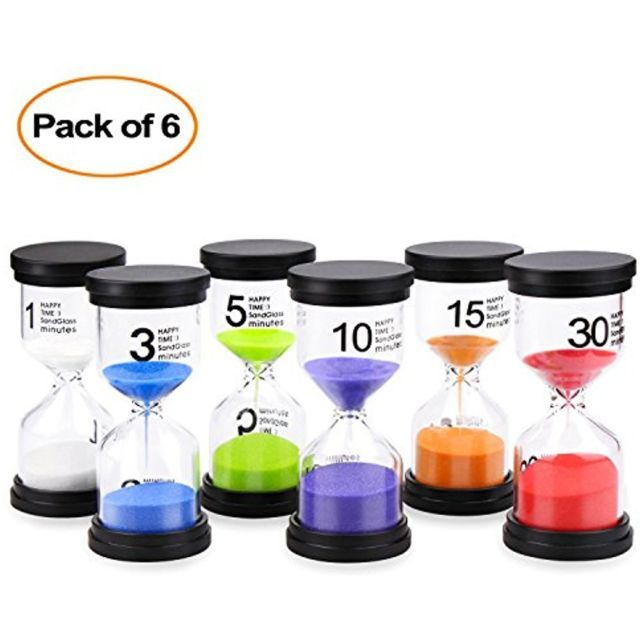 Sand Timer Mosskic 6 Colors Hourglass Timer 1/3/5/10/15/30 minutes