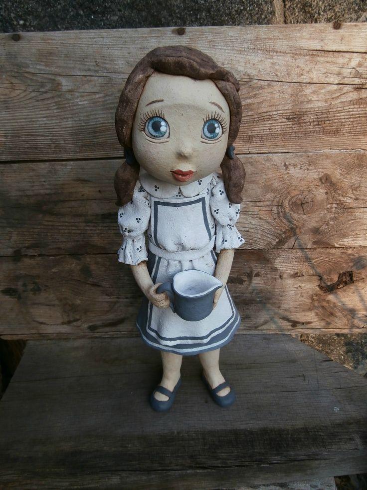Pomocnice+do+kuchyně+Originální+keramická+soška,+výška+42,5+cm.