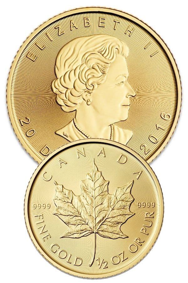 1 2 Oz Canadian Gold Maple Leaf Coins For Sale Money Metals
