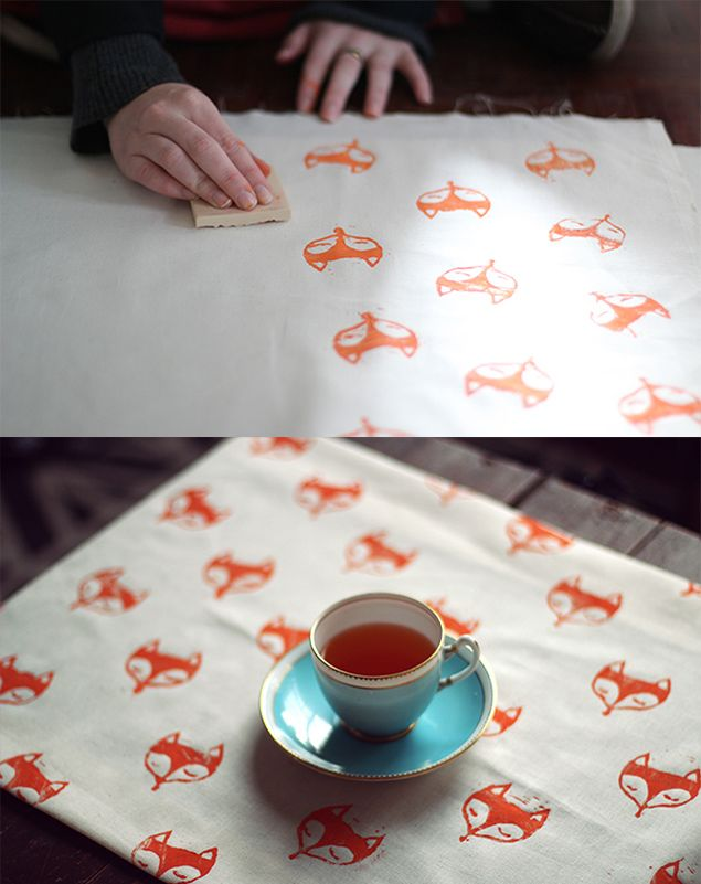 DIY fox rubber stamp fabric