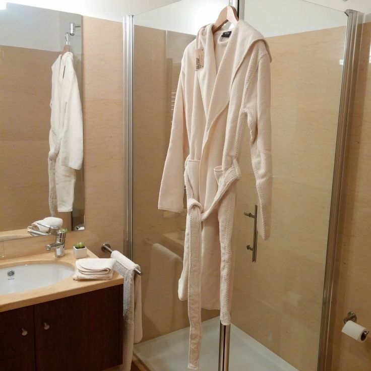 Superior combed cotton bathrobe #wafflerobe #bathroomdesign #luxurytowels modern bathroom, bathroom ideas, combed cotton | Shop at http://plumesilk.com/bath-robes/23-natural-hooded-bath-robe.html