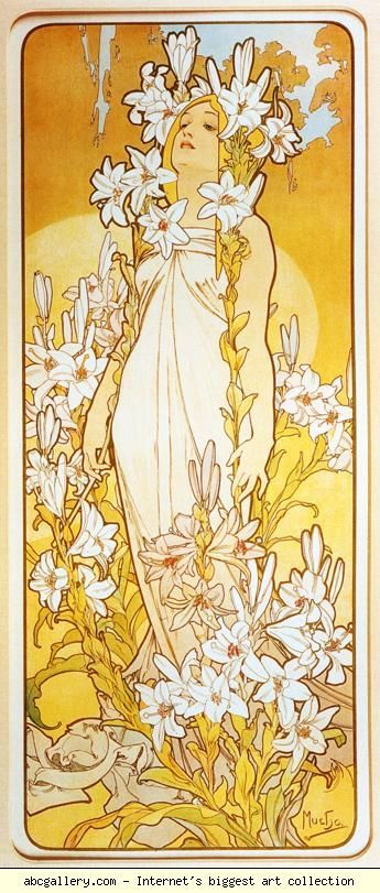 Alphonse Mucha. Lily. From The Flowers Series. 1898. Color lithograph.
