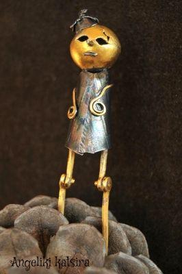 ΕΚΑΒΗ - EKABI Sterling silver, hand forged and carved , a layer of black patina was applied to enhance the design,gilded bronze  details. | myartshop