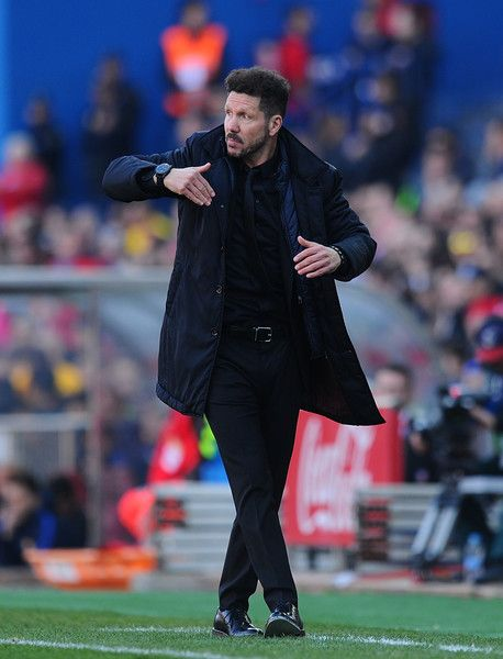 Head coach Diego Simeone of Club Atletico de Madrid reacts during the La Liga match between Club Atletico de Madrid and FC Barcelona at Vicente Calderon Stadium on February 26, 2017 in Madrid, Spain.