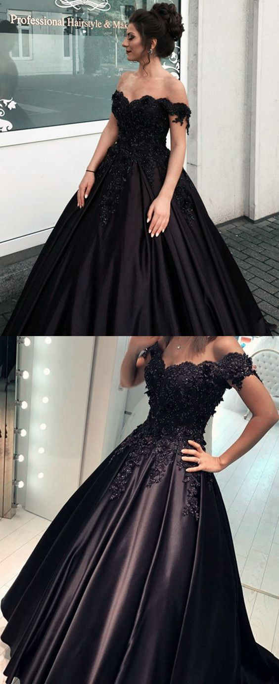74071b51543 Black Satin Ball Gown Quinceanera Dresses Lace V-neck Off The Shoulder Prom  Ballgowns Dress