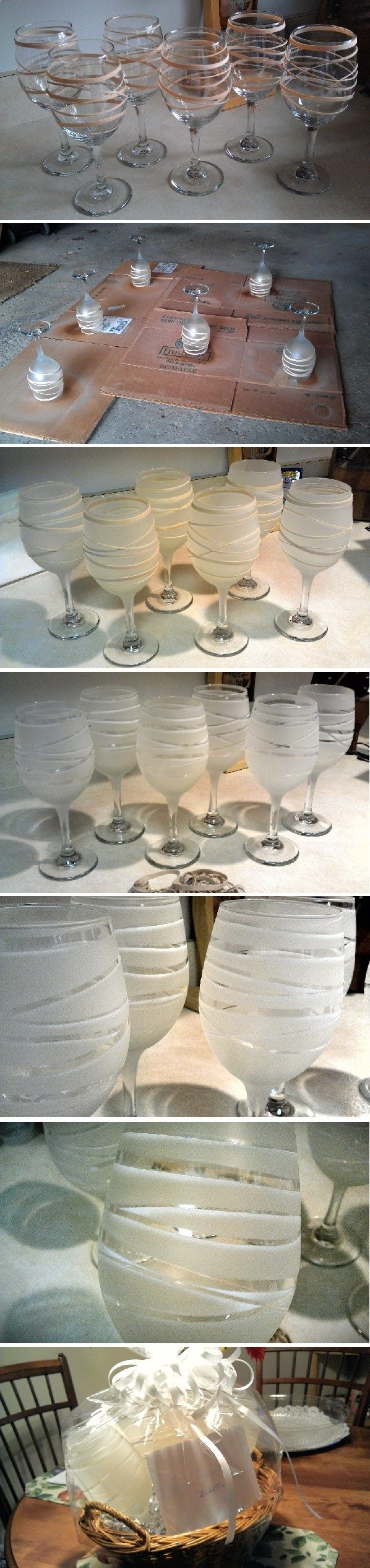 Youll need: dollar store wine glasses, assorted rubber bands, frosted glass spray paint. Package a set of 4 with a bottle of wine for a nice gift! via