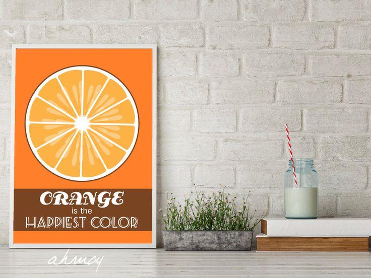 Orange Mid Century Kitchen Typography Large Art Print | Instant Download Print | Modern Retro Orange Quote Poster Design  DIY Kitchen Print by ahmoy on Etsy