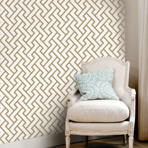 Retro Geometric Pattern Gold Peel & Stick Fabric WallPaper has adhesive back with re-positionable and removable. It also can be re-applied over and