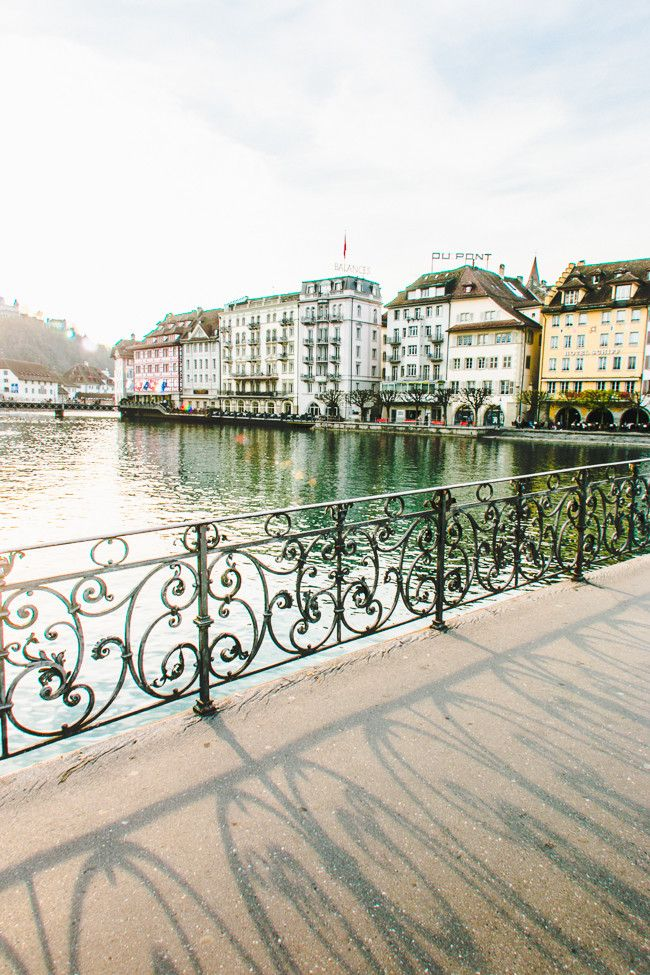 Gorgeous sunset on one of the many pedestrian bridges in Lucerne, Switzerland