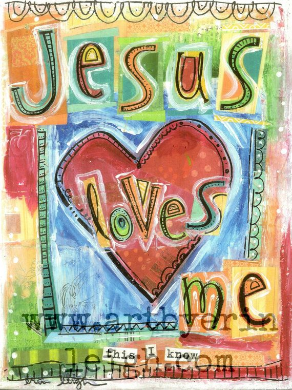 Kids Scripture Art, Sunday School Songs: Jesus Loves Me, 11 x 14 Original Mixed Media Collage on Wood via Etsy