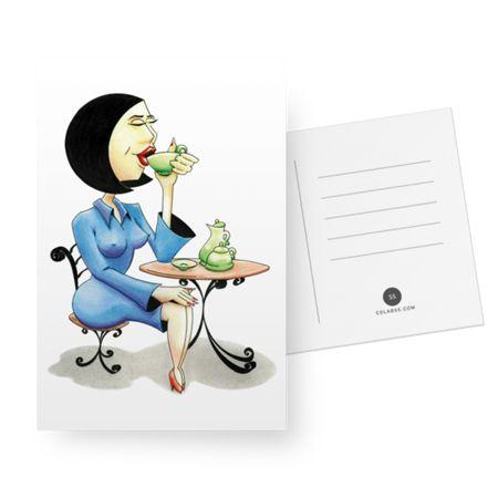 """Cartão """"Executiva bebendo chá"""" do Studio Marcos Ramos Design por R$26,00"""