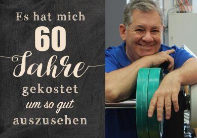 Lustige Einladungskarte zum 60. Geburtstag mit Foto und Spruch zum guten Aussehen