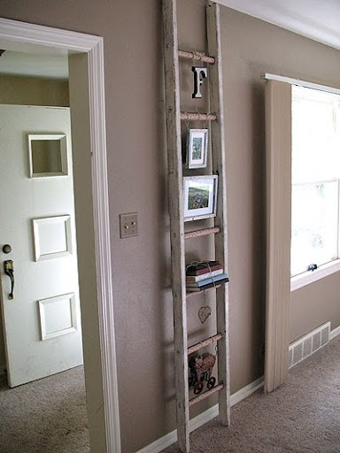 Decoupage Ladder. Fun little project. Take an old ladder, paint it, decoupage the rungs and hang decorative items for a unique accessory.