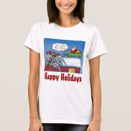 Santas Elephants Funny Holiday Cartoon T-Shirt - click/tap to personalize and buy