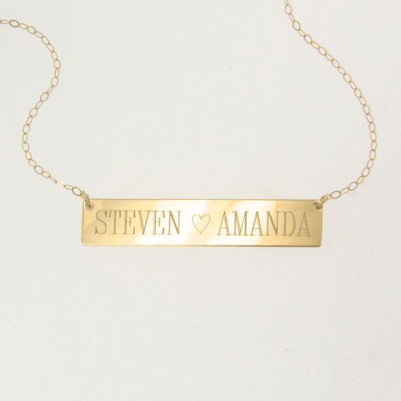 14K Gold Nameplate Necklace - WILL ENGRAVE, Yellow or White Gold, Personalized Name Plate As Seen on Kim Kardashian