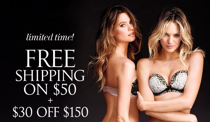 Victoria Secret Promo Code to cut your total with $30 out of $150 and get a Free Shipping on your items