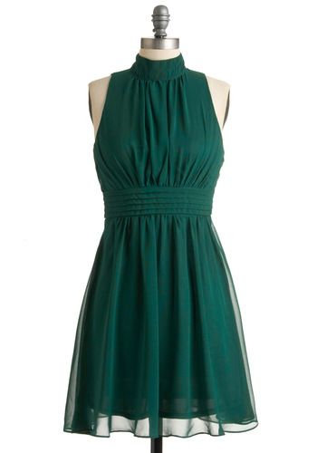 Windy City Dress in Forest - Green, Solid, Party, Vintage Inspired, A-line, Halter, Mid-length