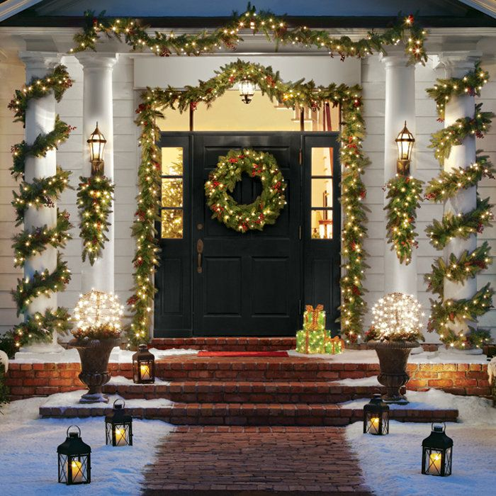 Front Door Decorations For The Holidays Holidays Christmas Pinterest Christmas Decorations Christmas And Christmas Wreaths