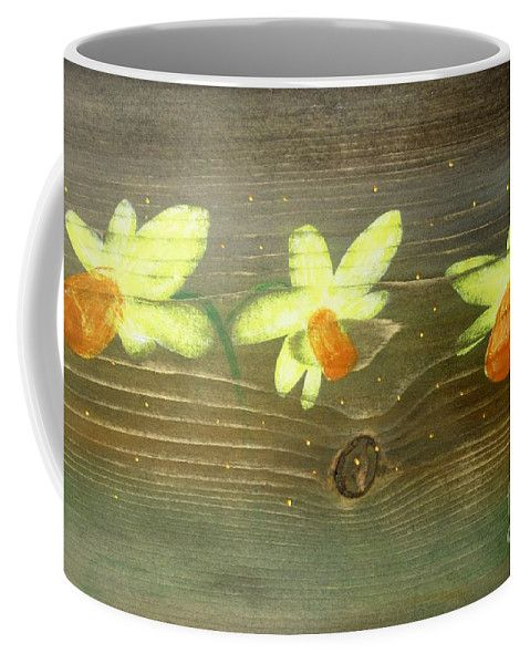 Rustic Coffee Mug featuring the painting Rustic Daffodil by Lyssjart Sj