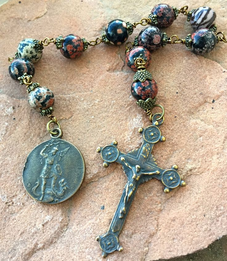 Michael the Archangel/Our Lady of Remedies Gemstone Tenner/Pocket Rosary