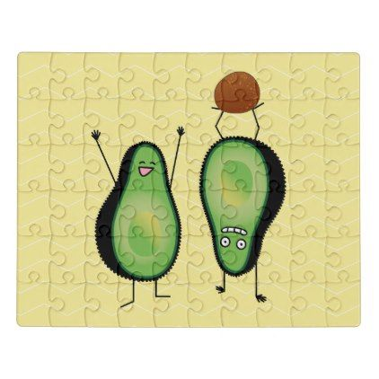 #Avocado funny cheering handstand green pit jigsaw puzzle - #cute #gifts #cool #giftideas #custom