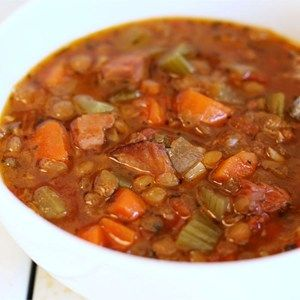 At the end of a long day, this hearty lentil soup rich with ham will be waiting. Try it with your favorite cornbread.  Allrecipes.com