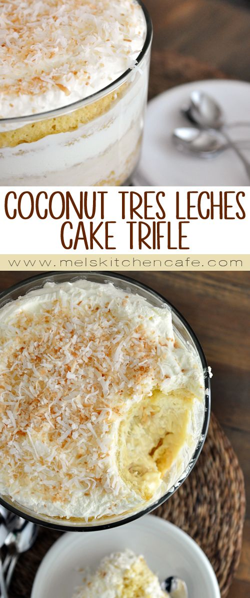 Layers of tender white coconut cake infused with a silky tres leches mixture, rich and creamy coconut pastry cream, fluffy whipped cream and a generous helping of toasted coconut. Yum!