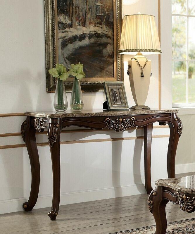 Acme 81698 Astoria Grand Tunstall Mehadi Walnut Finish Wood Marble