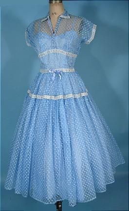 c. 1950's Light Blue Sheer Dotted Tea-length Dress with Underslip; love this!